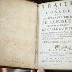 Traité de l'usage des différentes formes de saignées, Paris, 1727. Ex-libris manuscrit du chirurgien Louis Barbier (-1796).