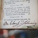 Ex-libris manuscrit du médecin-chirurgien Timothée Silvain (c1696-1749).