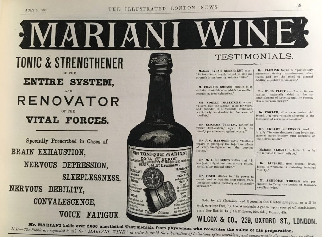 Vanté par le pape Léon XIII, le vin tonique Mariani à base de cocaïne du Pérou était des plus appréciés à la Belle Époque - The Illustrated London News, Londres, 1892.